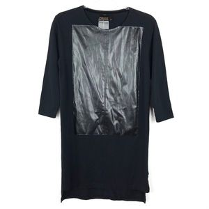 Sons of Heroes Black Faux Leather Long T-Shirt